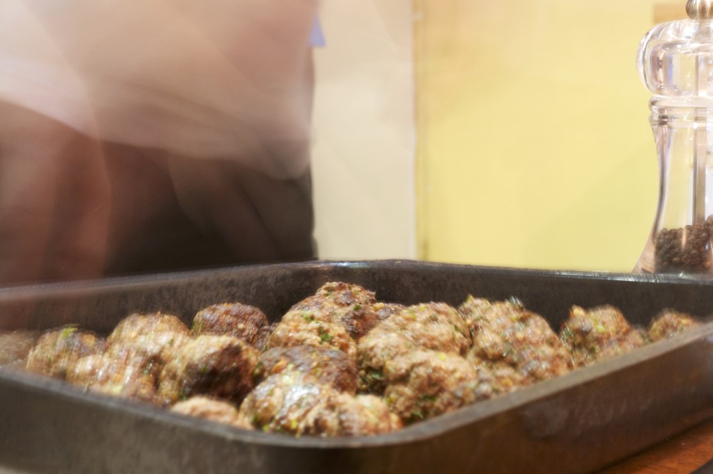 Lamb and beef meatballs in oven tray